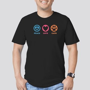 Peace Love Cats [r] Men's Fitted T-Shirt (dark)